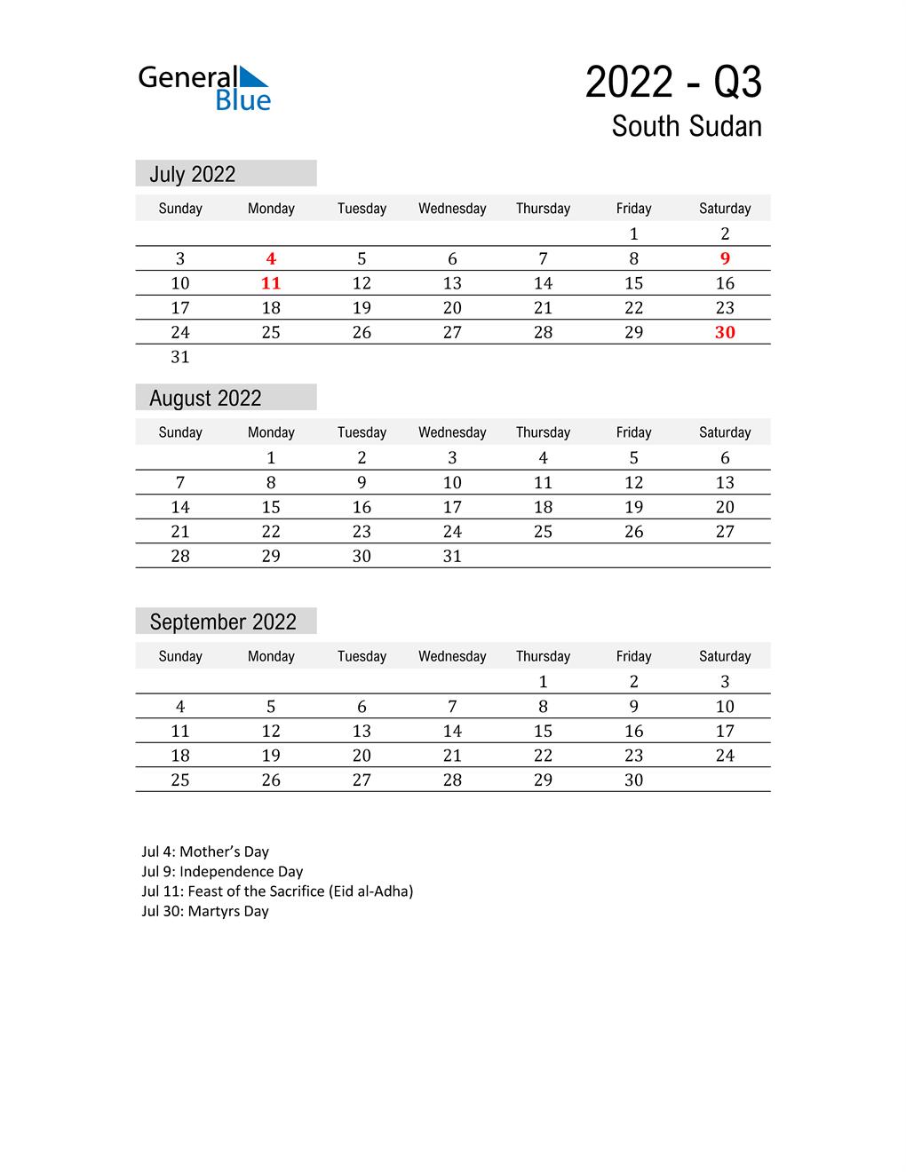South Sudan Quarter 3 2022 Calendar