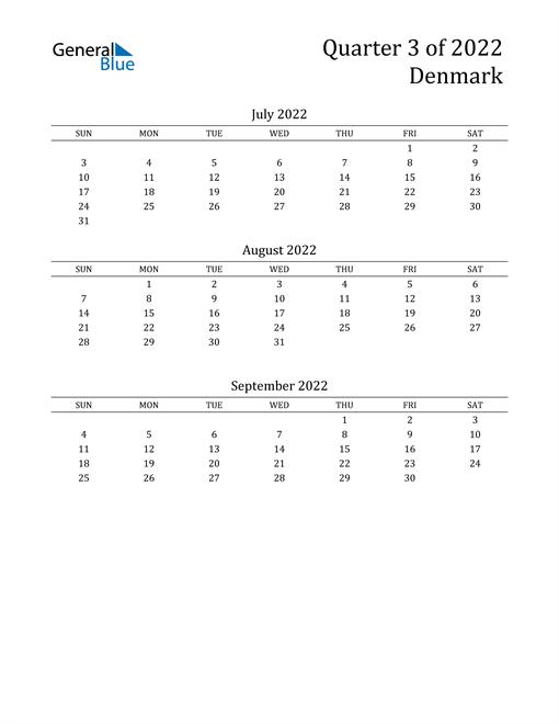 2022 Denmark Quarterly Calendar
