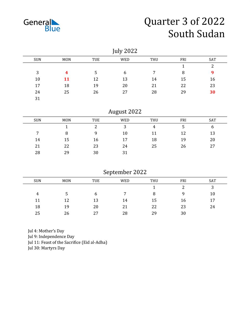 2022 South Sudan Quarterly Calendar