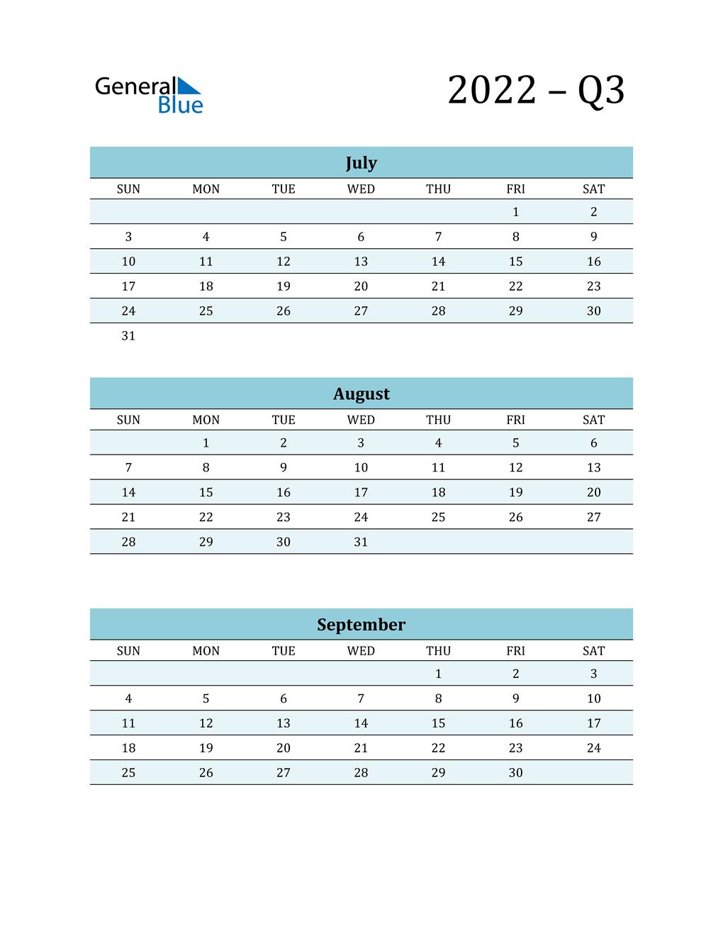 July, August, and September 2022 Calendar