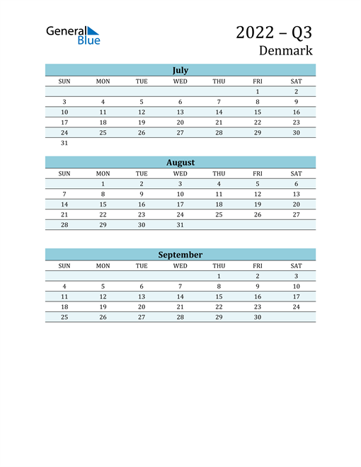 Three-Month Planner for Q3 2022 with Holidays