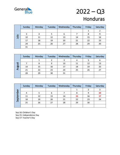 Free Q3 2022 Calendar for Honduras