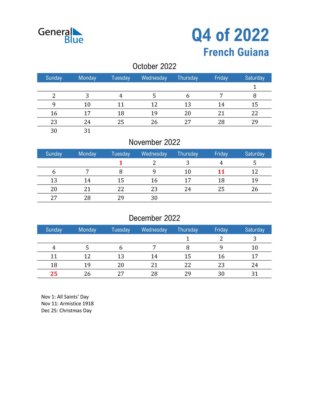 French Guiana 2022 Quarterly Calendar