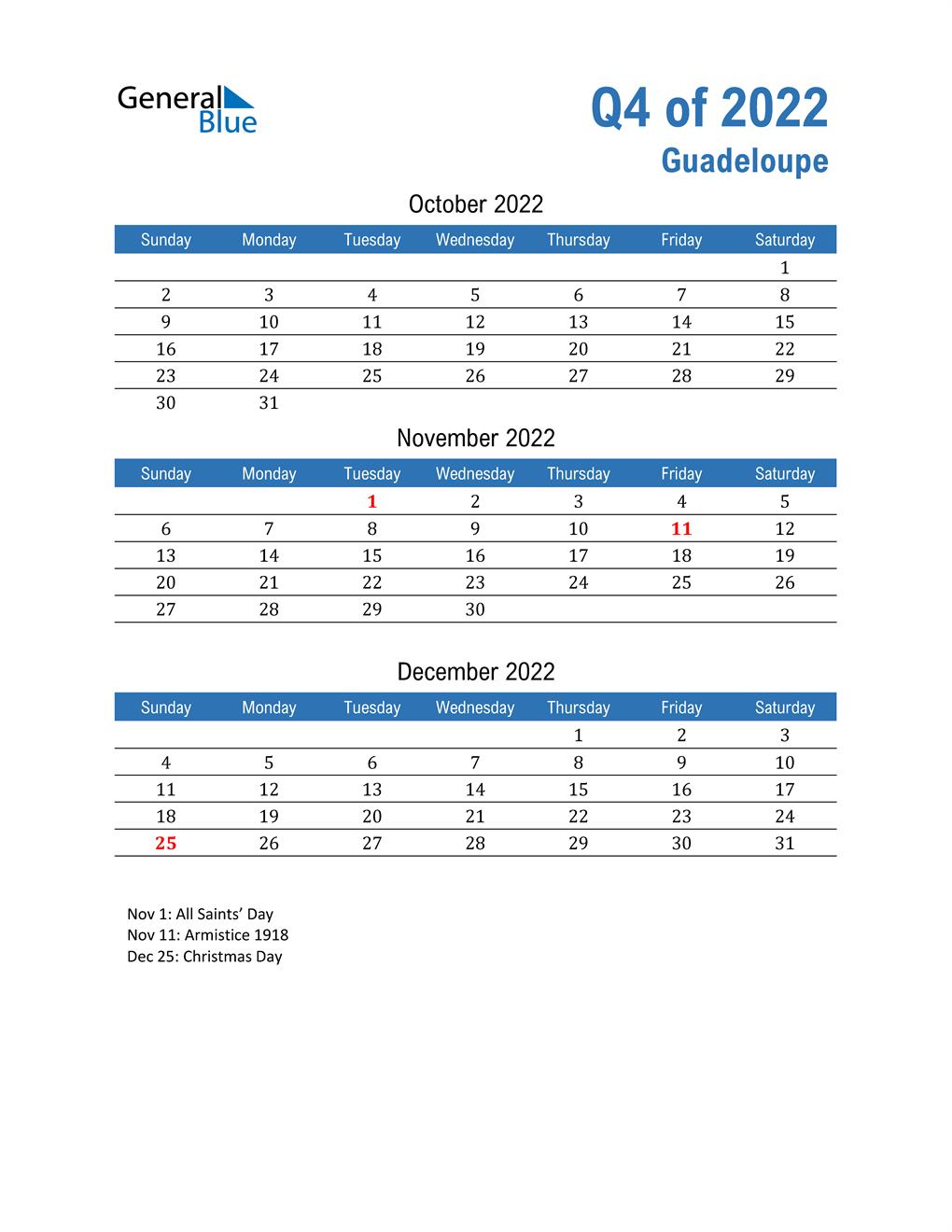 Guadeloupe 2022 Quarterly Calendar