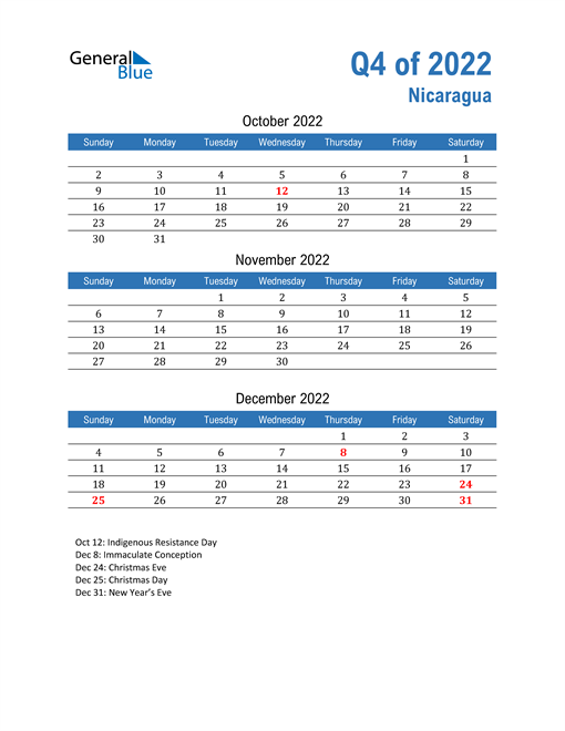 Nicaragua 2022 Quarterly Calendar