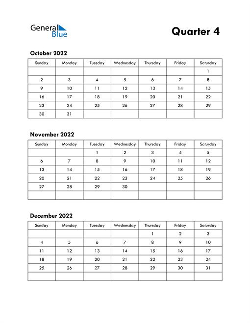 Quarter 4 2022 Calendar