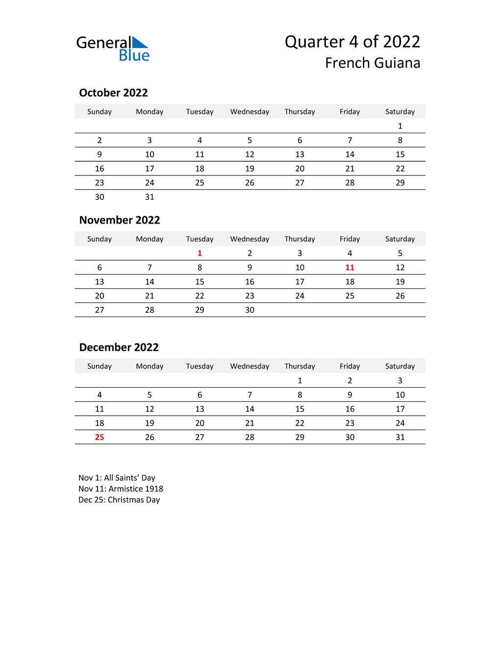 2022 Three-Month Calendar for French Guiana