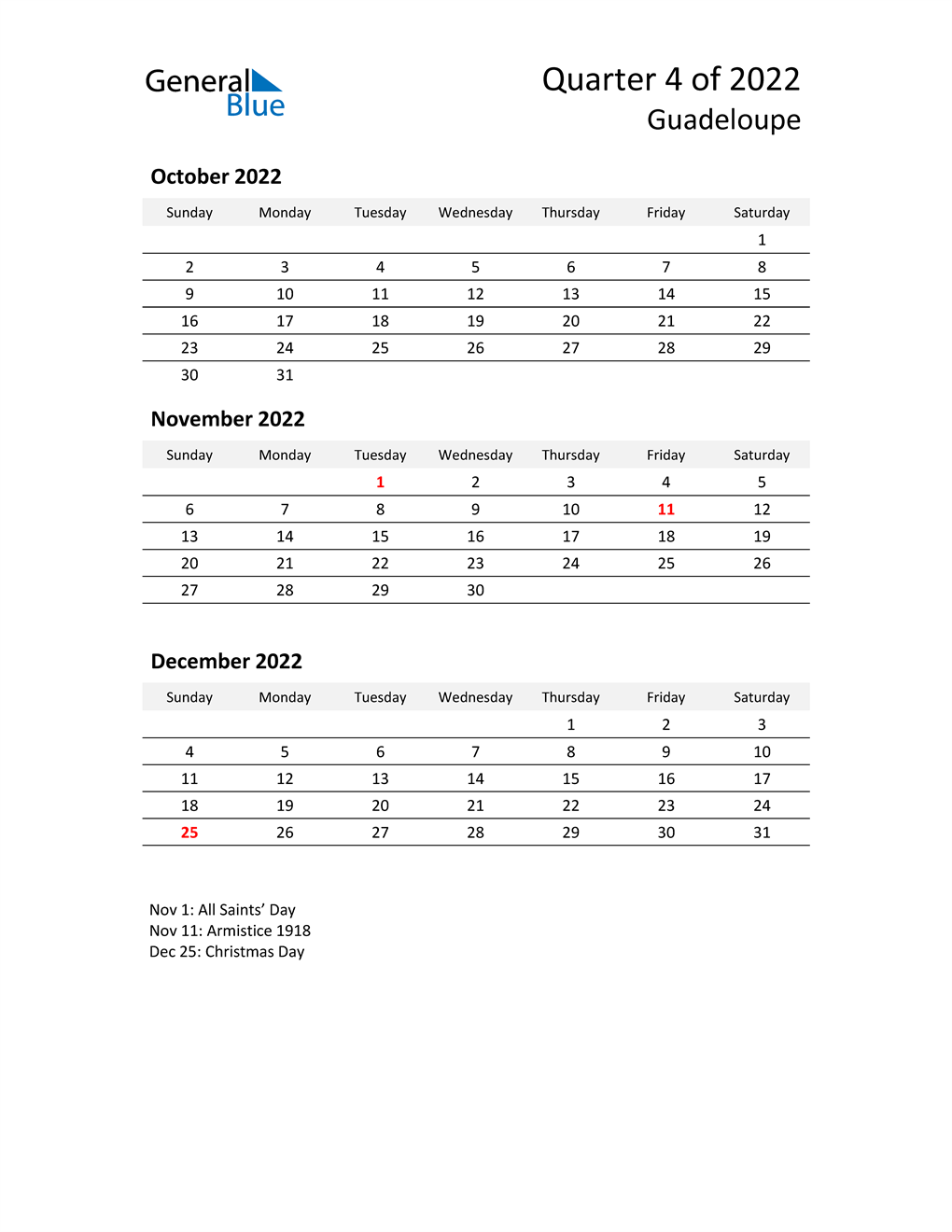 2022 Three-Month Calendar for Guadeloupe