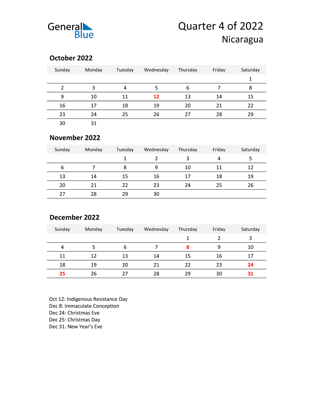 2022 Three-Month Calendar for Nicaragua