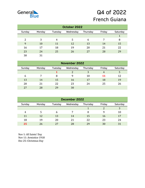 Quarterly Calendar 2022 with French Guiana Holidays