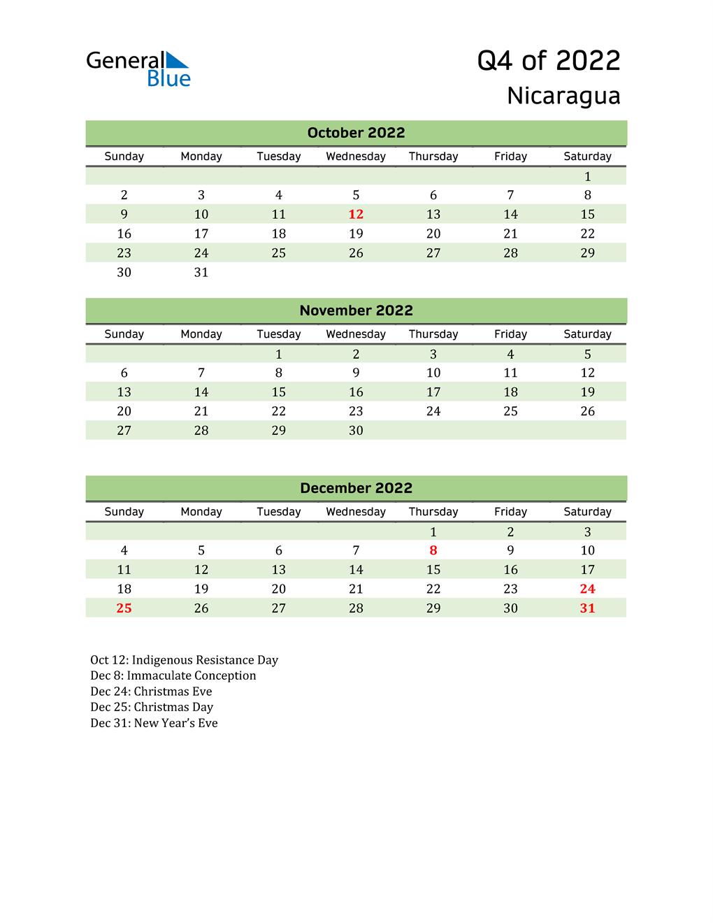 Quarterly Calendar 2022 with Nicaragua Holidays