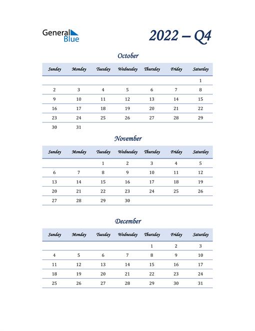 2022 Quarterly Calendar