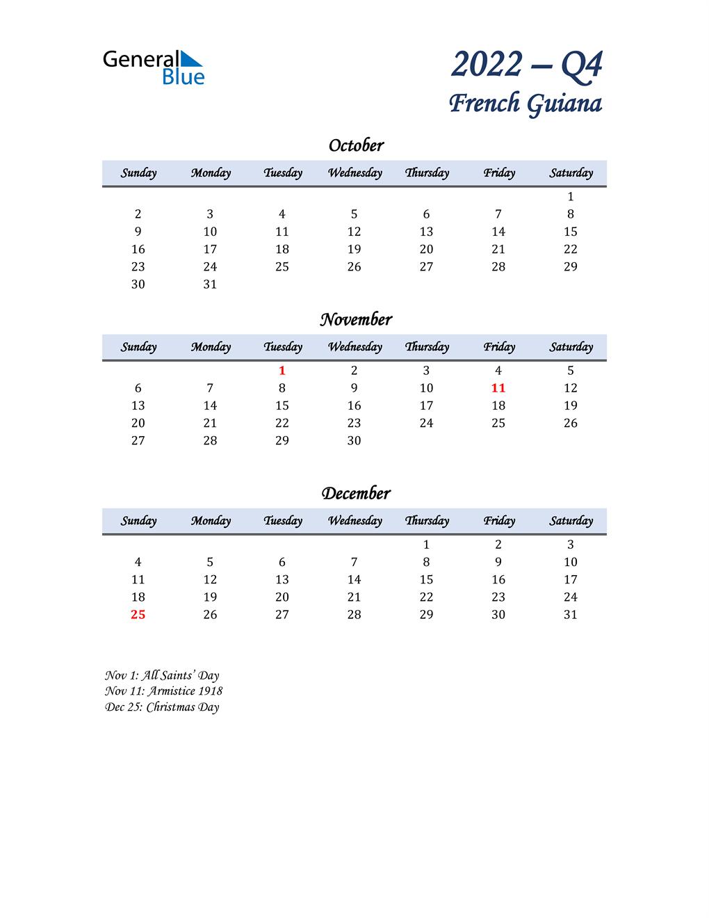 October, November, and December Calendar for French Guiana