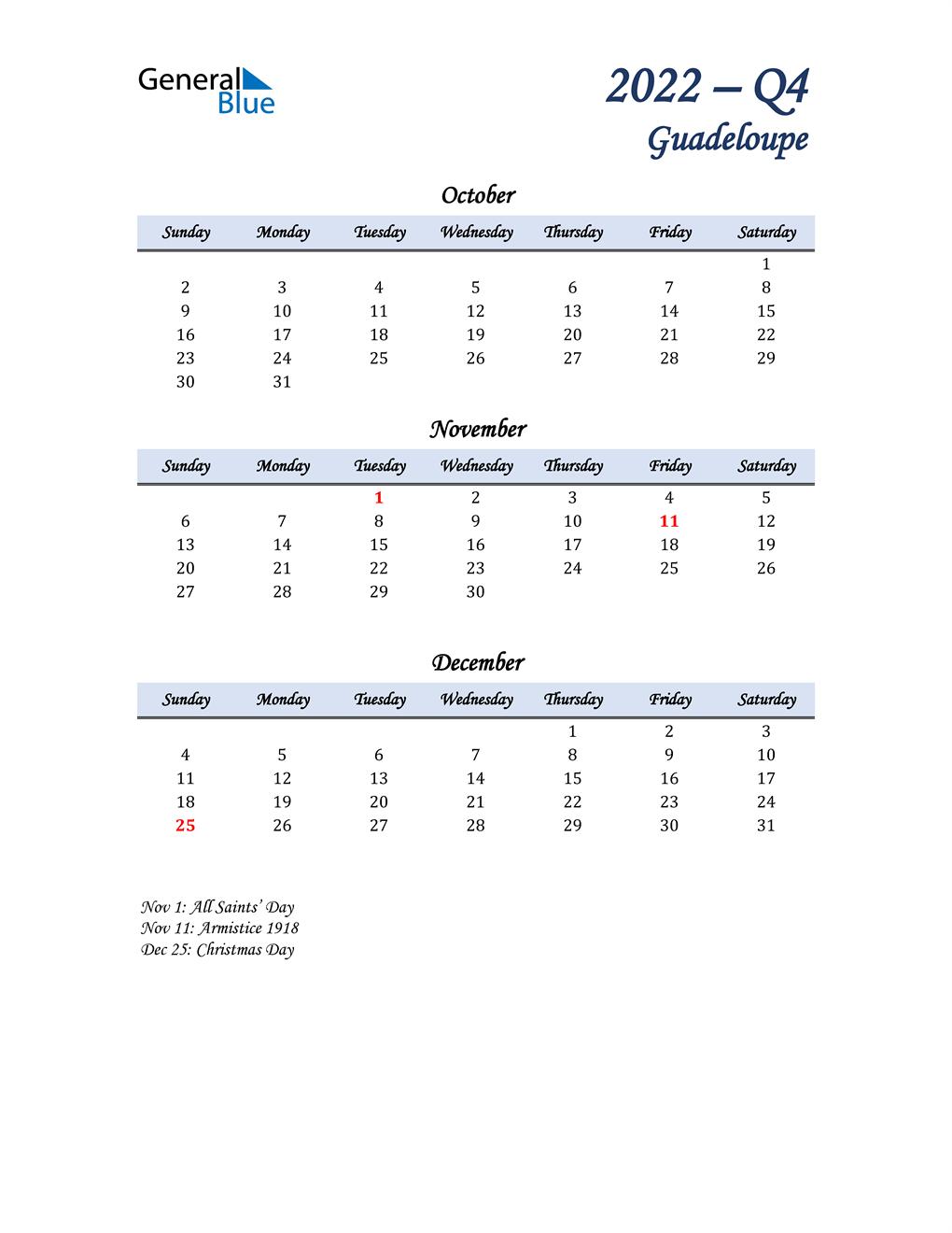 October, November, and December Calendar for Guadeloupe