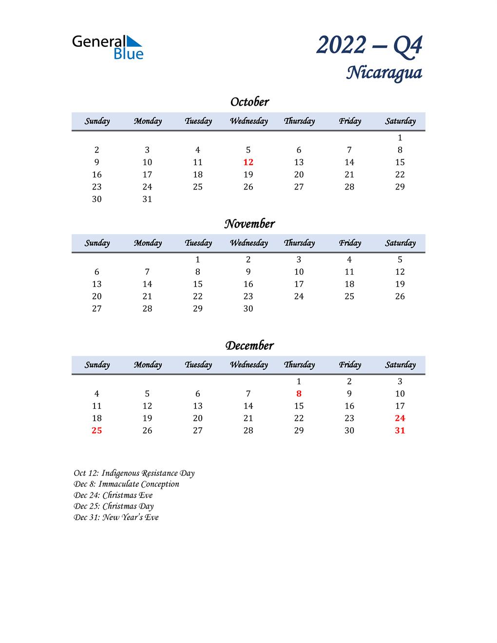 October, November, and December Calendar for Nicaragua