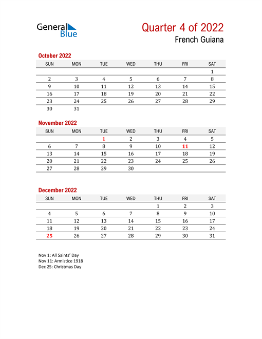 Printable Three Month Calendar for French Guiana