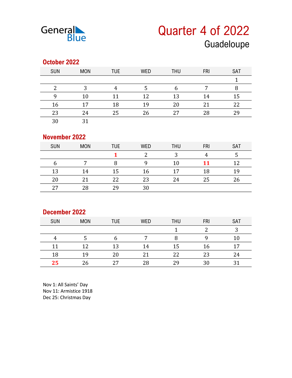 Printable Three Month Calendar for Guadeloupe