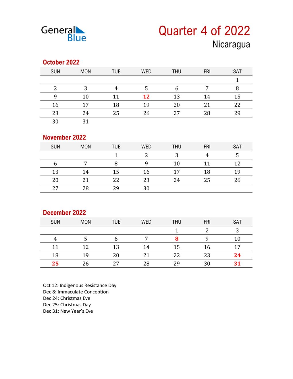 Printable Three Month Calendar for Nicaragua