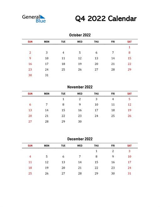 2022 Q4 Calendar with Red Weekend