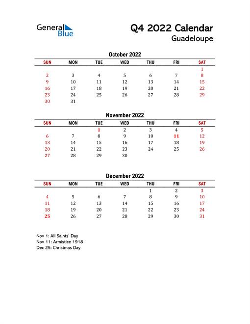 2022 Q4 Calendar with Holidays List