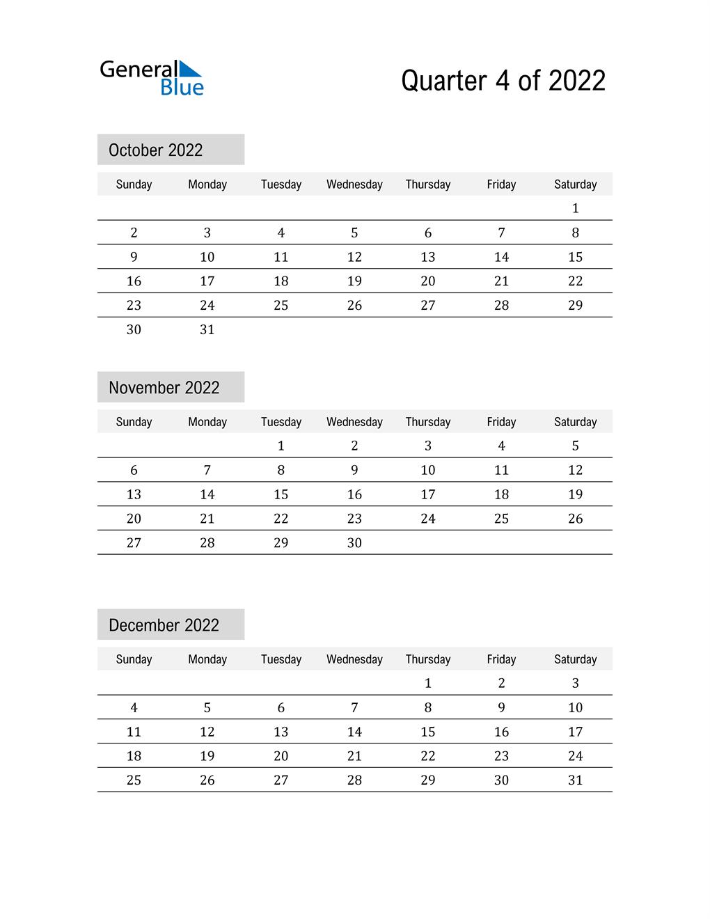 October, November, and December Calendar 2022