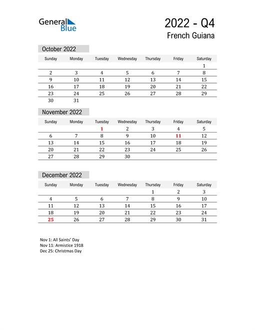 French Guiana Quarter 4 2022 Calendar