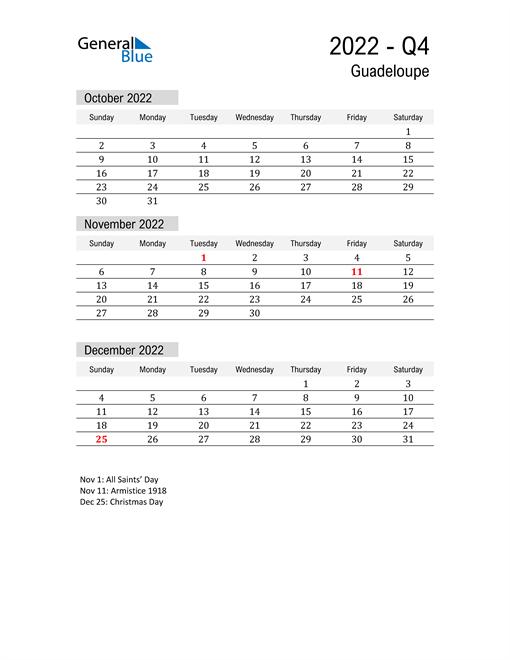 Guadeloupe Quarter 4 2022 Calendar
