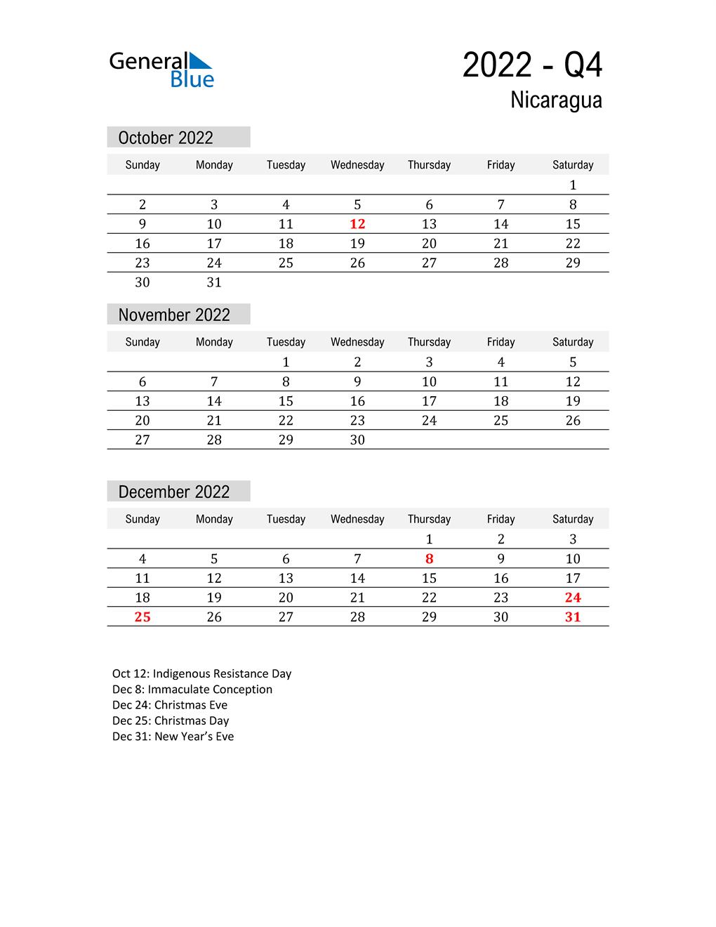 Nicaragua Quarter 4 2022 Calendar