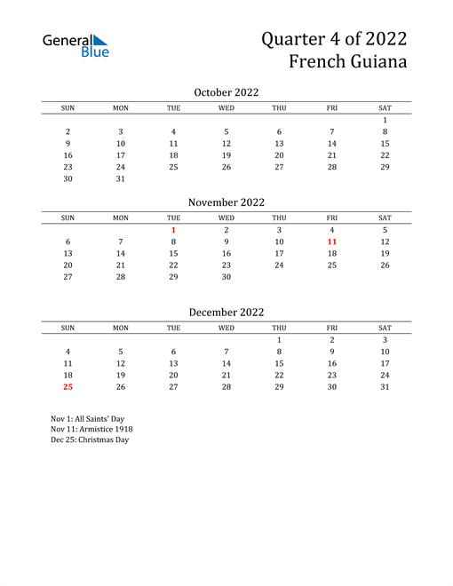 2022 French Guiana Quarterly Calendar