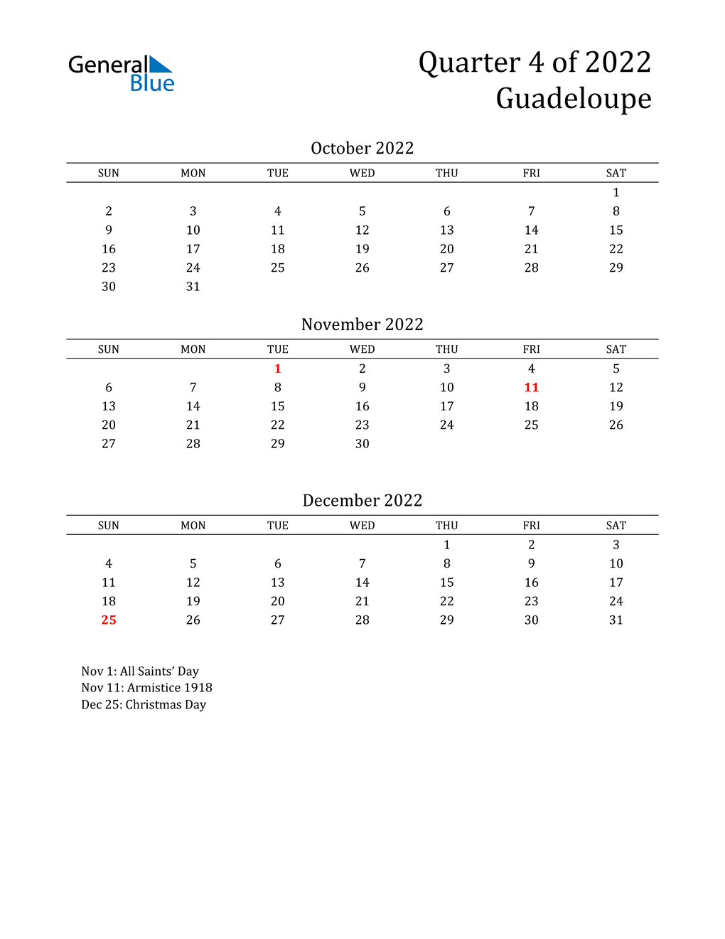 2022 Guadeloupe Quarterly Calendar