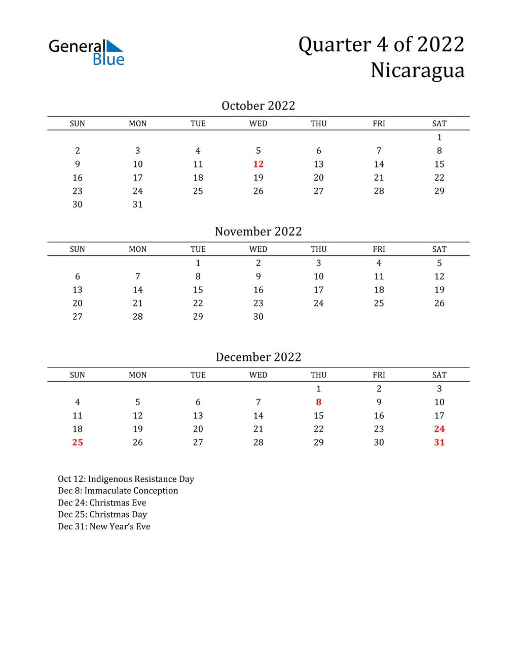 2022 Nicaragua Quarterly Calendar