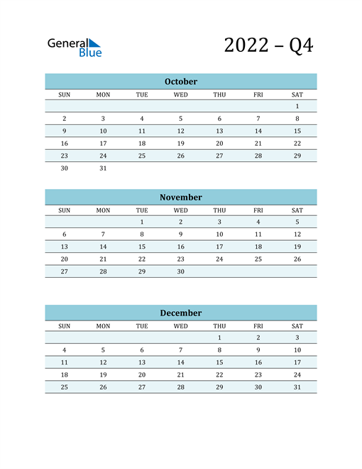 October, November, and December 2022 Calendar