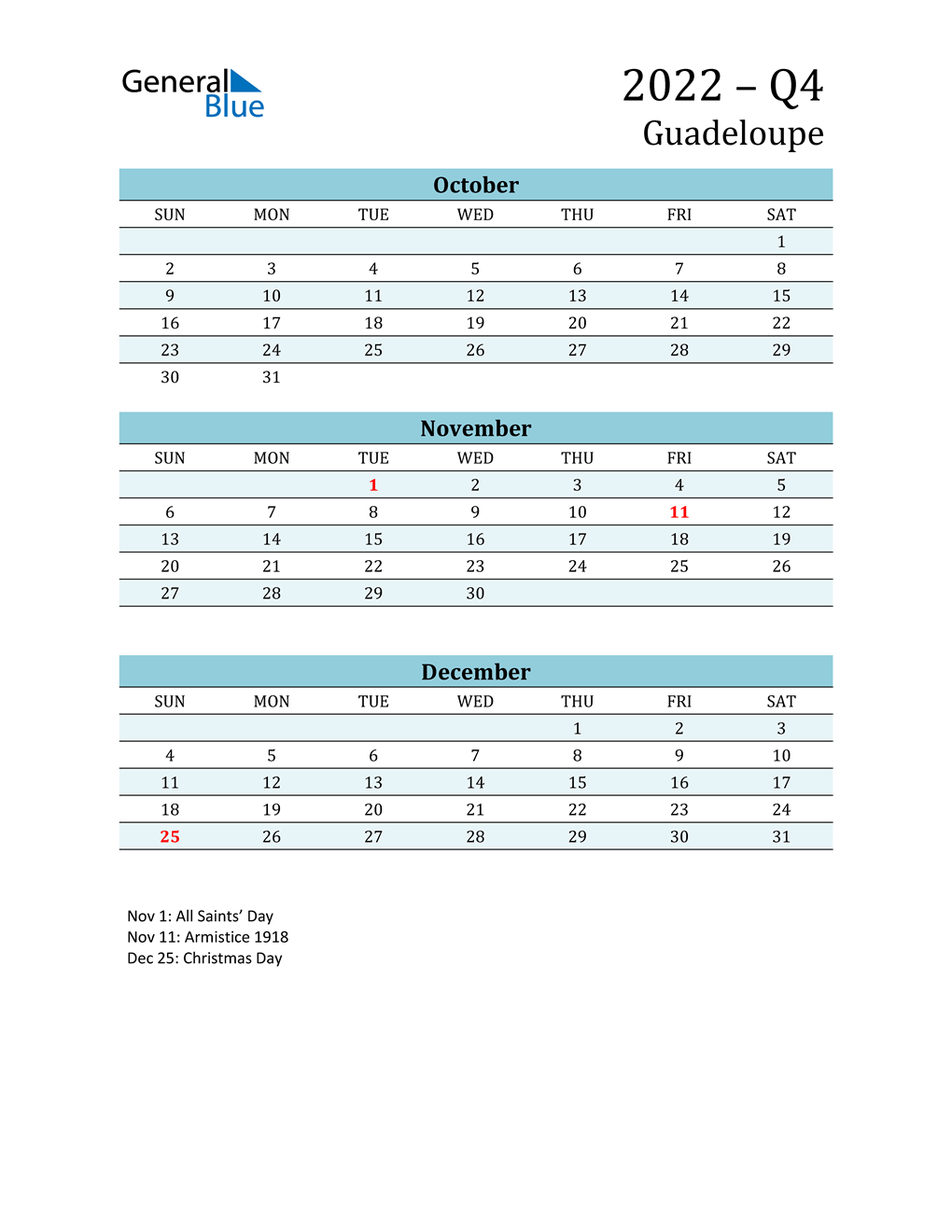 Three-Month Planner for Q4 2022 with Holidays