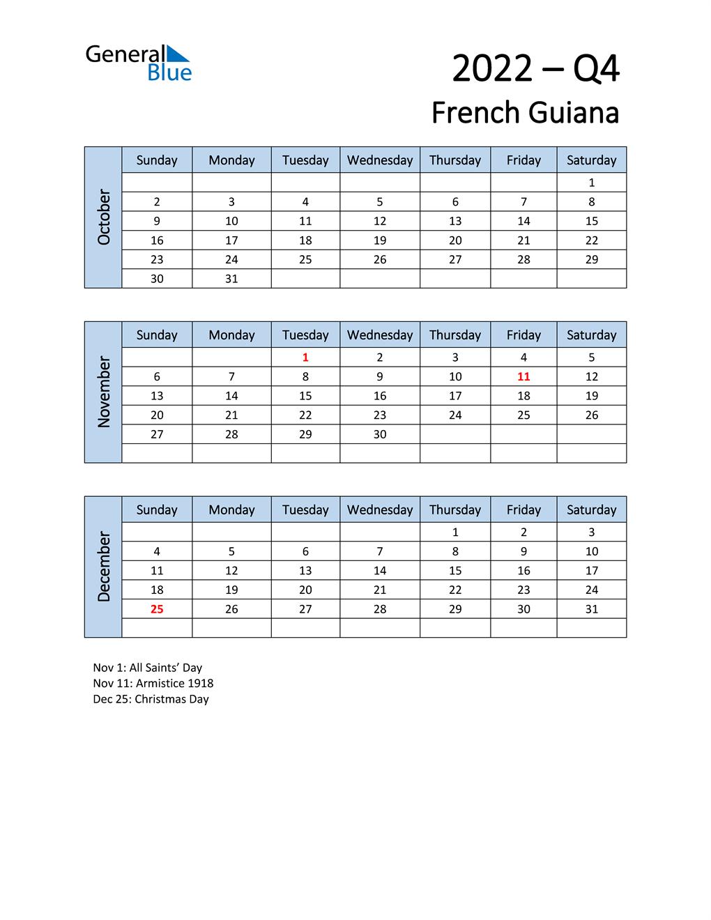 Free Q4 2022 Calendar for French Guiana