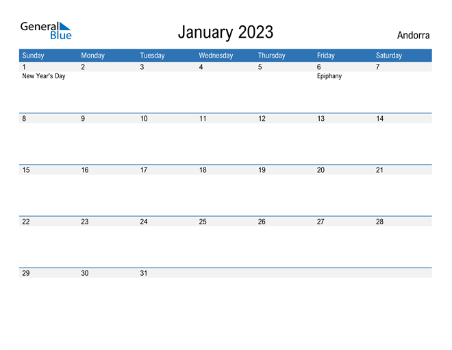 Fillable January 2023 Calendar