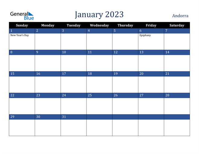 January 2023 Andorra Calendar