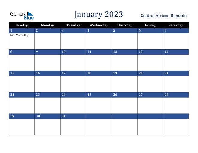 January 2023 Central African Republic Calendar