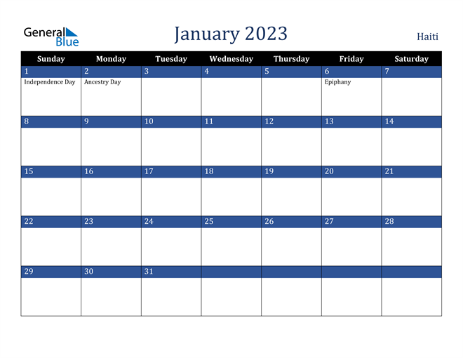 January 2023 Haiti Calendar
