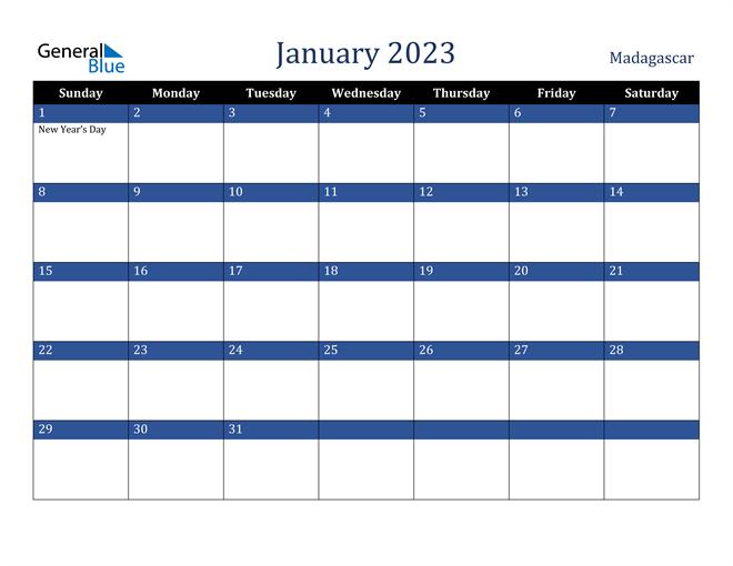 January 2023 Madagascar Calendar