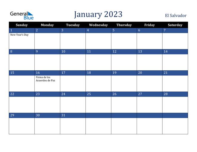 January 2023 El Salvador Calendar