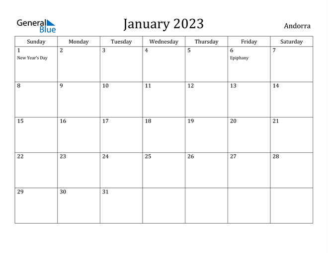 January 2023 Calendar Andorra