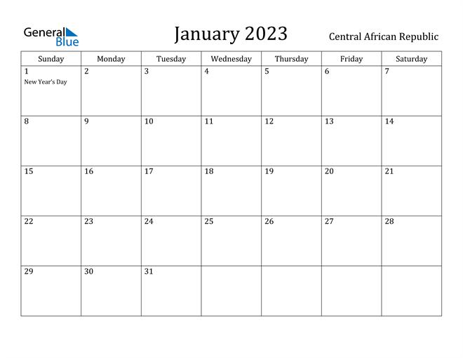 January 2023 Calendar Central African Republic