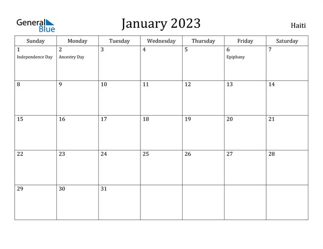 January 2023 Calendar Haiti