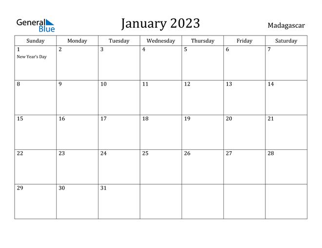 January 2023 Calendar Madagascar