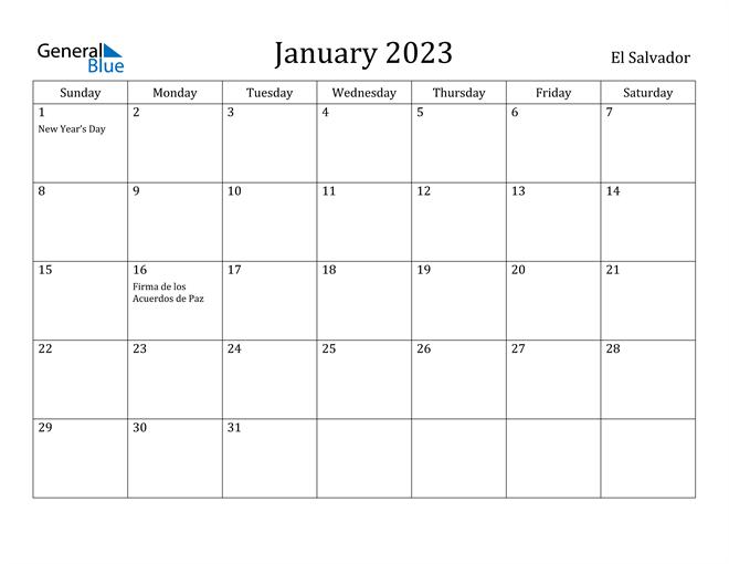 January 2023 Calendar El Salvador