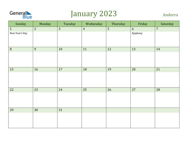 January 2023 Calendar with Andorra Holidays