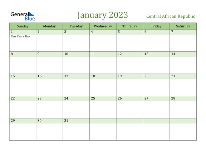 January 2023 Calendar with Central African Republic Holidays