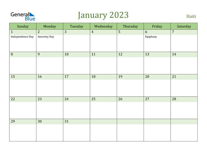 January 2023 Calendar with Haiti Holidays