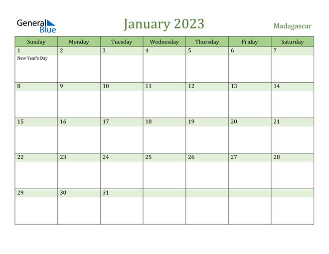 January 2023 Calendar with Madagascar Holidays