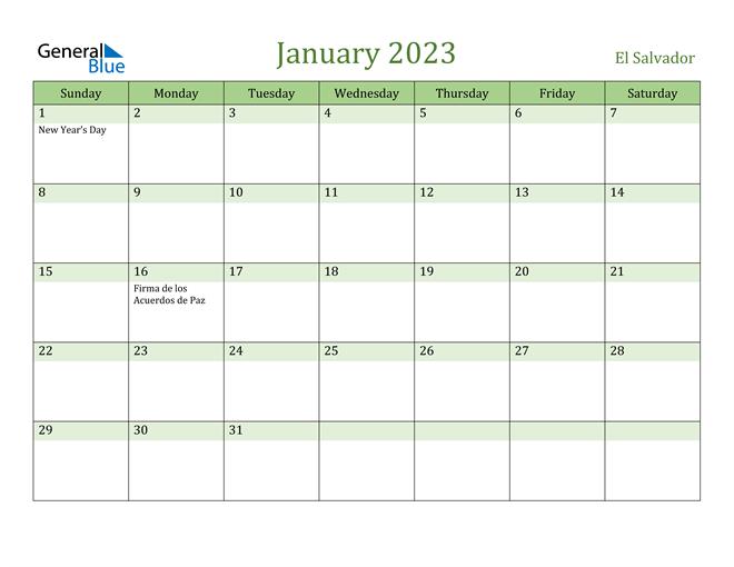 January 2023 Calendar with El Salvador Holidays